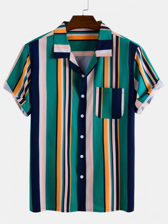 outfits Contrast Stripes Pocket Patch Button Down Shirt - DEEP GREEN L