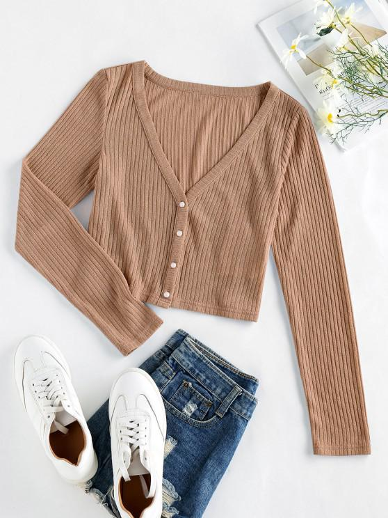 fashion ZAFUL Ribbed Knit Crop Cardigan - CAMEL BROWN M