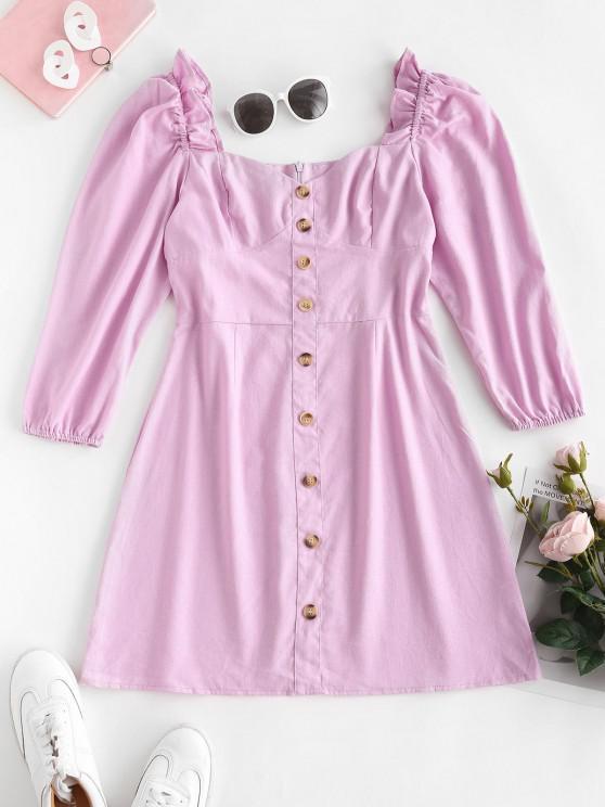 lady Mock Buttons Puff Sleeve Ruffled Milkmaid Dress - LIGHT PURPLE S