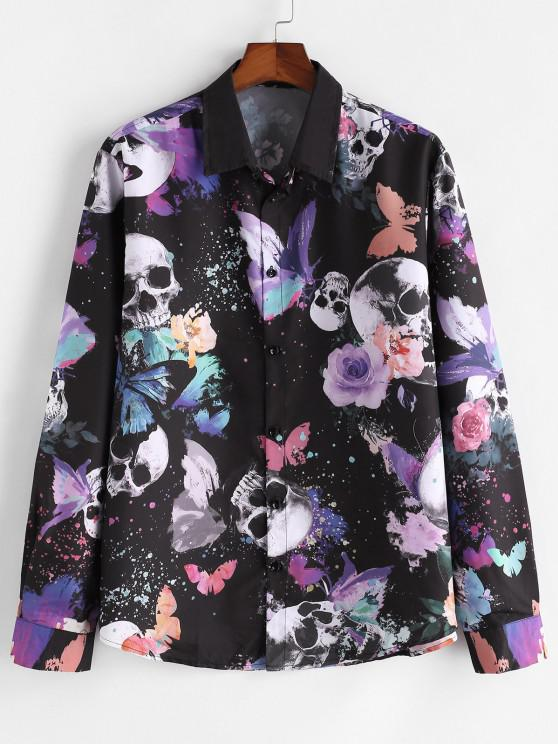women Skull Butterfly Print Button Up Casual Shirt - MULTI S