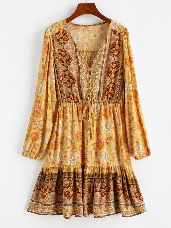 ladies Floral Drawstring Button Loop Mini Dress - YELLOW S