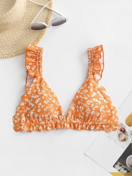ZAFUL Flower Print Ruffle Scalloped Bikini Top - برتقالي قاتم S