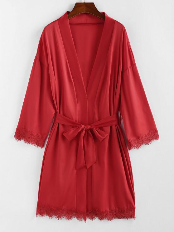 ZAFUL Belted Lace Trim Kimono Wrap Robe - أحمر M