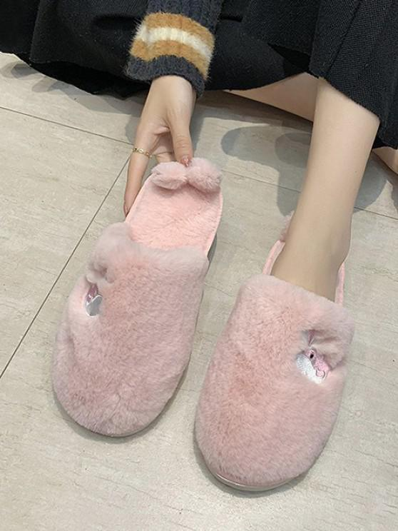 women Whale Embroidery Fluffy Indoor Slippers - LIGHT PINK EU 40