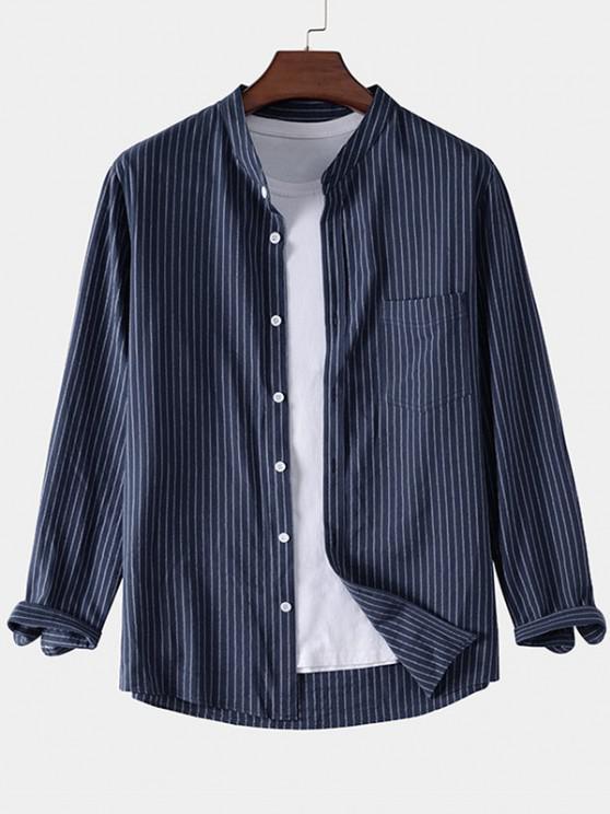 women Pocket Patch Stripes Long Sleeve Shirt - BLUE L
