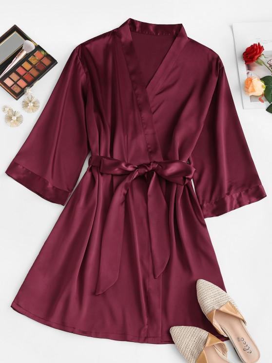 women's Silky Satin Robe - RED M