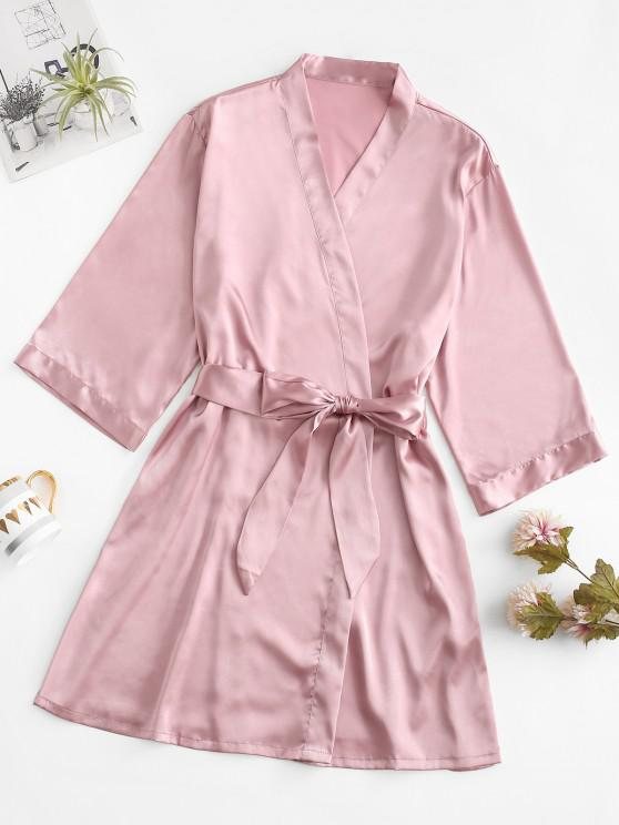 trendy Silky Satin Robe - LIGHT PINK 2XL