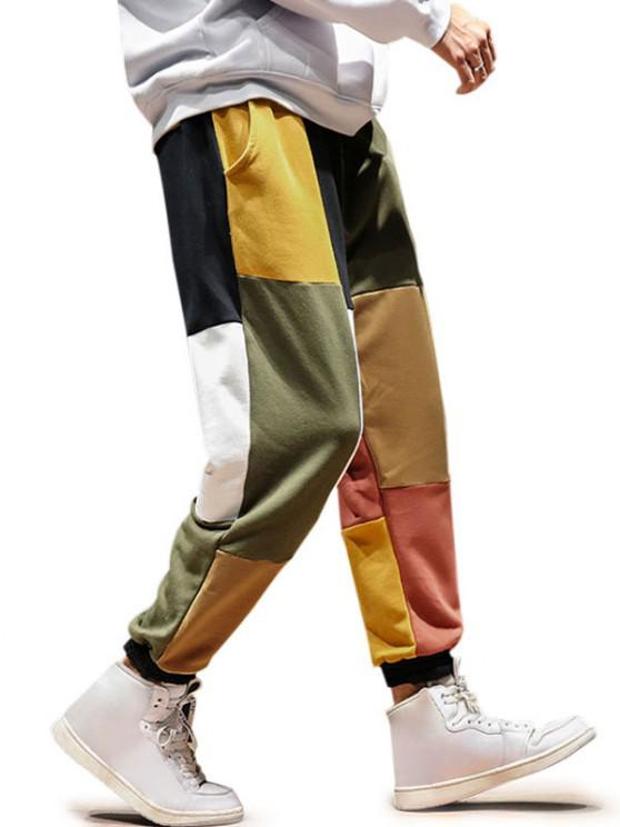 outfit Colorblock Casual Beam Feet Pants - MULTI-A 2XL