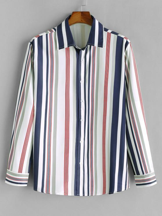 chic Vertical Striped Print Long Sleeve Casual Shirt - MIDNIGHT BLUE S