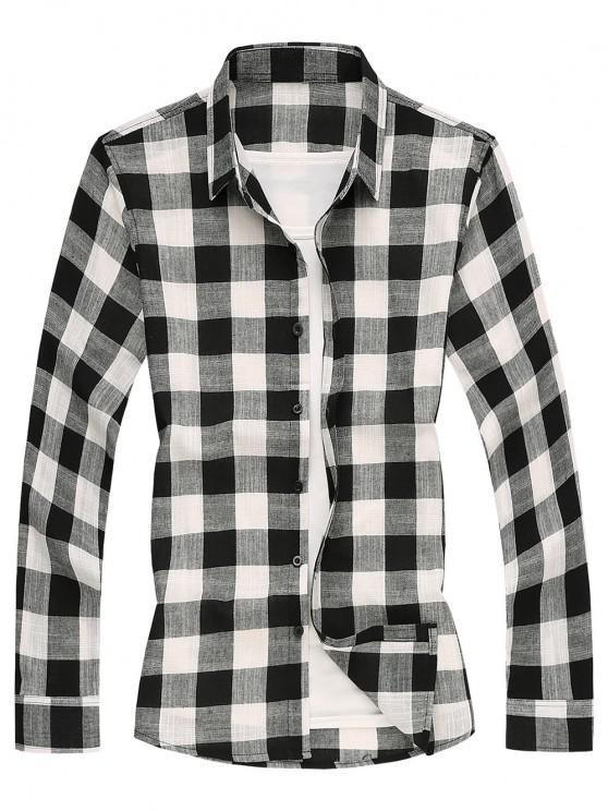 sale Long Sleeves Checked Casual Shirt - BLACK 2XL