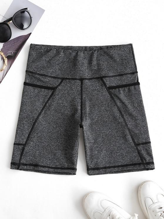 trendy High Rise Pocket Space Dye Biker Shorts - DARK GRAY S