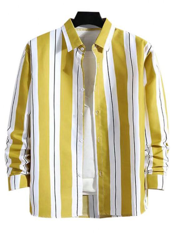 chic Stripes Color Blocking Casual Shirt - YELLOW L