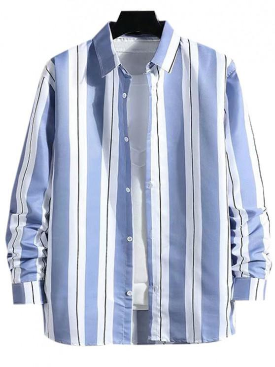 outfit Stripes Color Blocking Casual Shirt - LIGHT BLUE XS