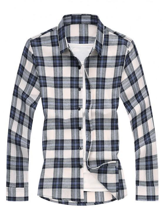 shops Plaid Long Sleeves Shirt - BLUE S