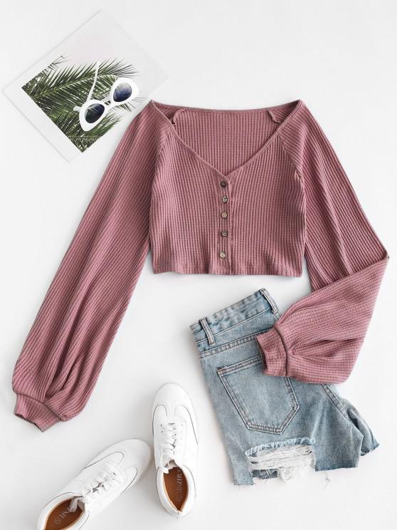 ladies Knit Voluminous Sleeve Cropped Cardigan - LIGHT PINK M