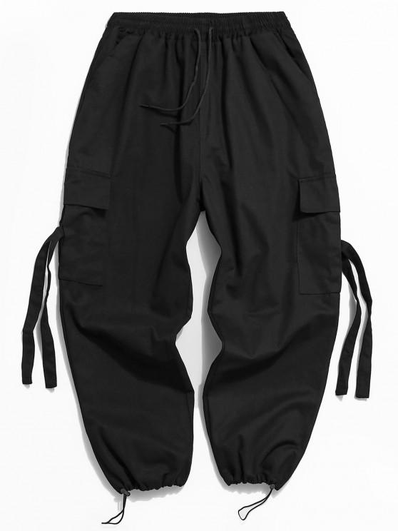 women Multi Pockets Toggle Drawstring Cargo Pants - BLACK S