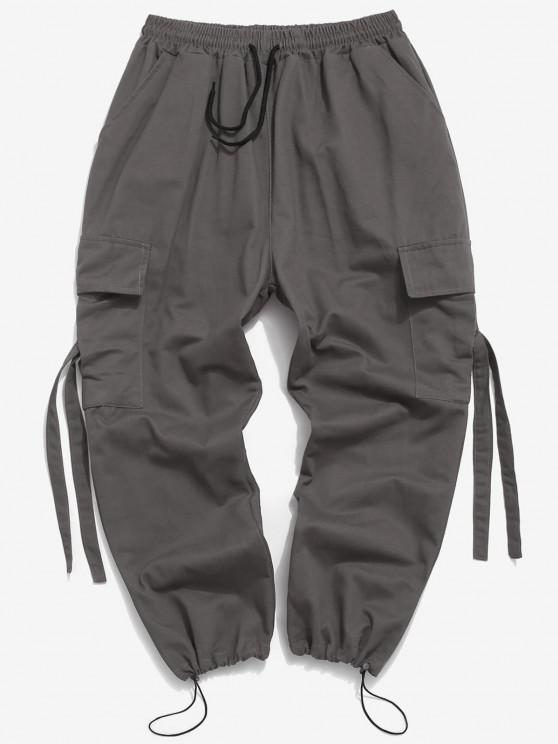 Multi Pockets Toggle Drawstring Cargo Pants - اللون الرمادي L