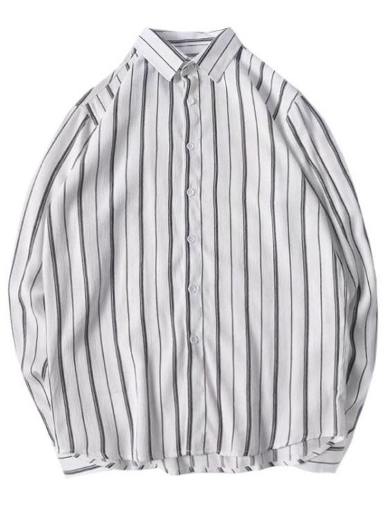 latest Stripes Curved Hem Shirt - LIGHT GRAY M