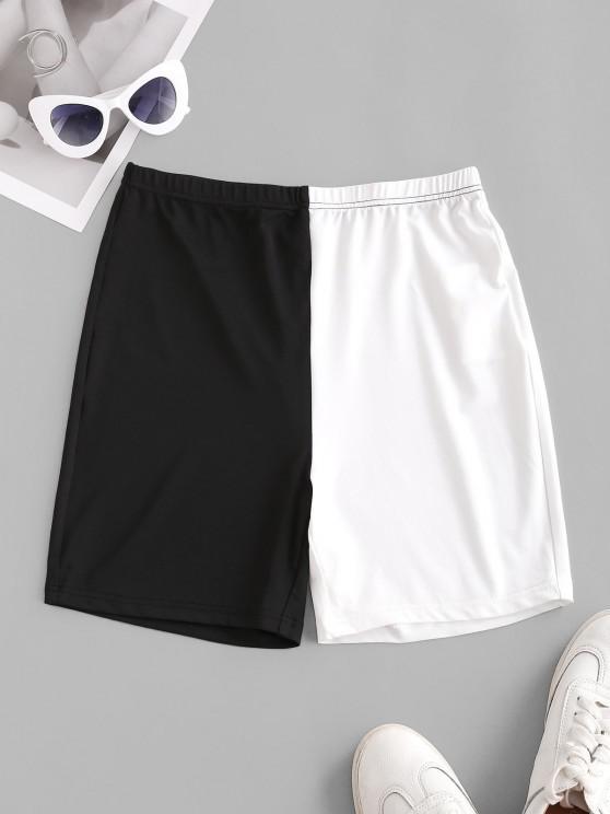 shops ZAFUL High Rise Colorblock Biker Shorts - BLACK L