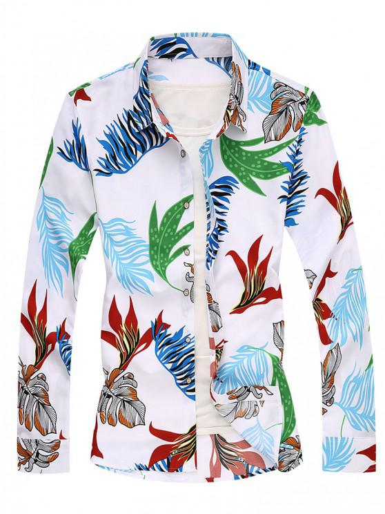 new Tropical Leaf Long Sleeves Shirt - WHITE S