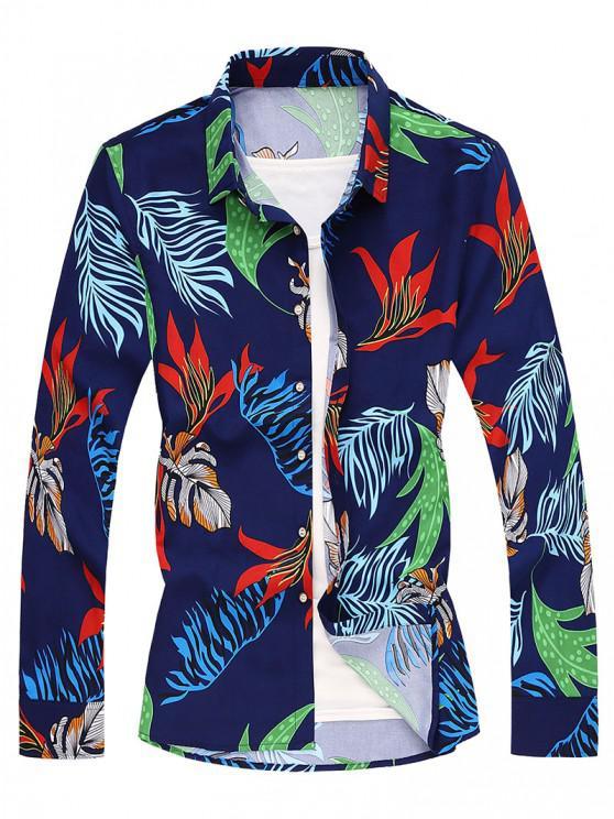 Tropical Leaf Long Sleeves Shirt - طالبا الأزرق 2XL