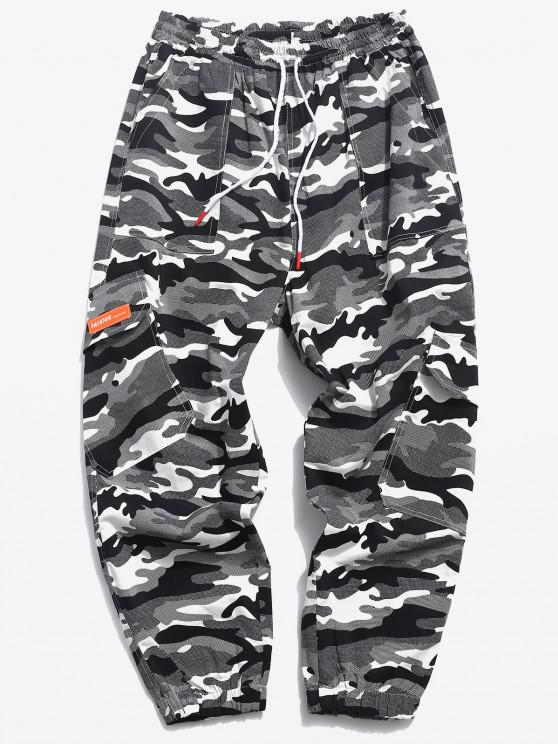 lady Camouflage Print Multi-pocket Lounge Cargo Pants - BLACK S