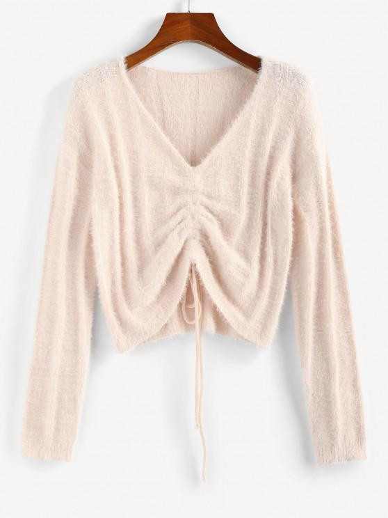 ZAFUL Fuzzy Cinched V Neck Jumper Sweater - وردي فاتح M