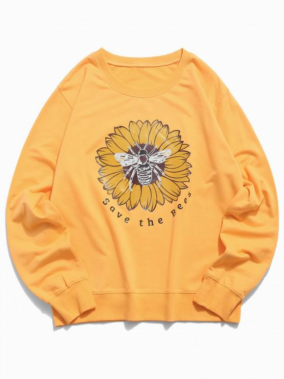 Floral Bee Graphic Lounge Crew Neck Sweatshirt - الأصفر XS