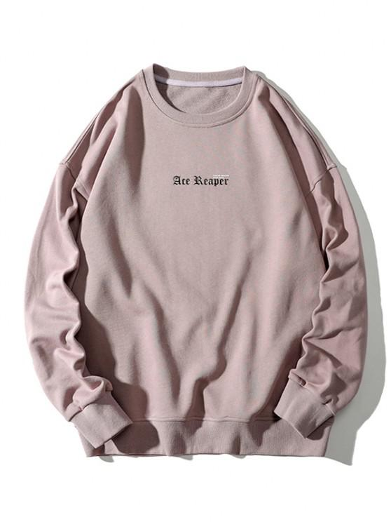 lady Letter Butterfly Print Rib-knit Trim Sweatshirt - PINK ROSE 3XL