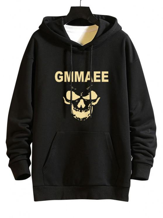 online Letter Graphic Casual Drop Shoulder Hoodie - BLACK S