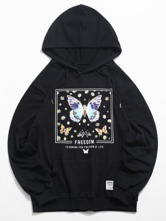 chic Daisy Butterfly Freedom Graphic Hoodie - BLACK S