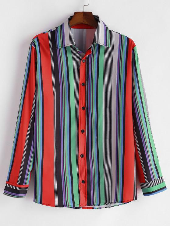 ladies Colorful Stripe Print Button Up Shirt - RED S