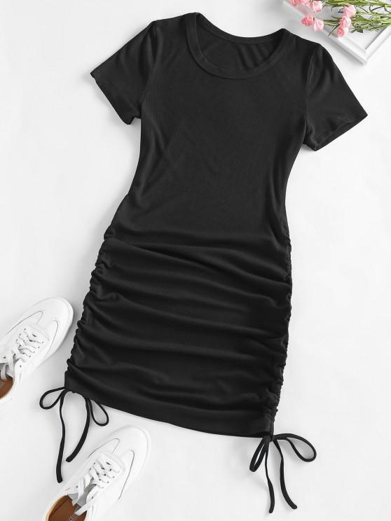 chic ZAFUL Ribbed Cinched Bodycon Mini Dress - BLACK M