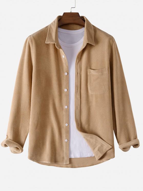 trendy Plain Pocket Patch Corduroy Shirt - LIGHT COFFEE M