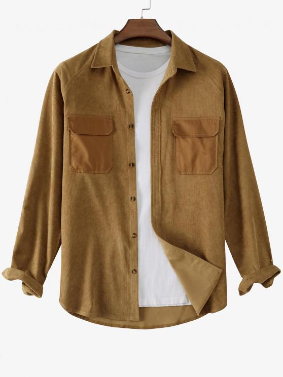 affordable Raglan Sleeve Contrast Patch Pocket Corduroy Shirt - COFFEE L