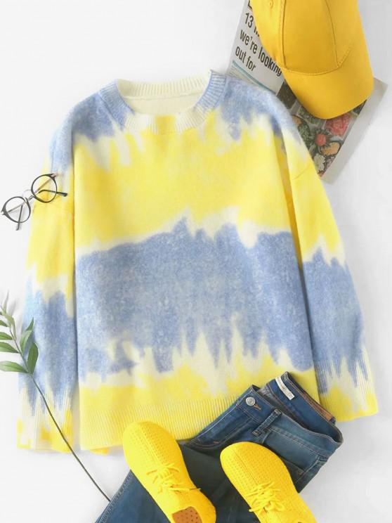 Tie Dye Oversized Sweater - أزرق حجم واحد