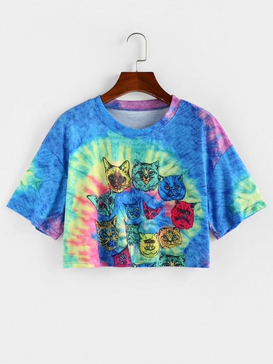 ZAFUL Camiseta Barriga de Fora com Impressão de Gato - Multi M