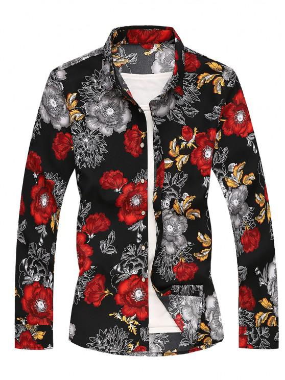 chic Flower Printed Long Sleeves Shirt - RED XS