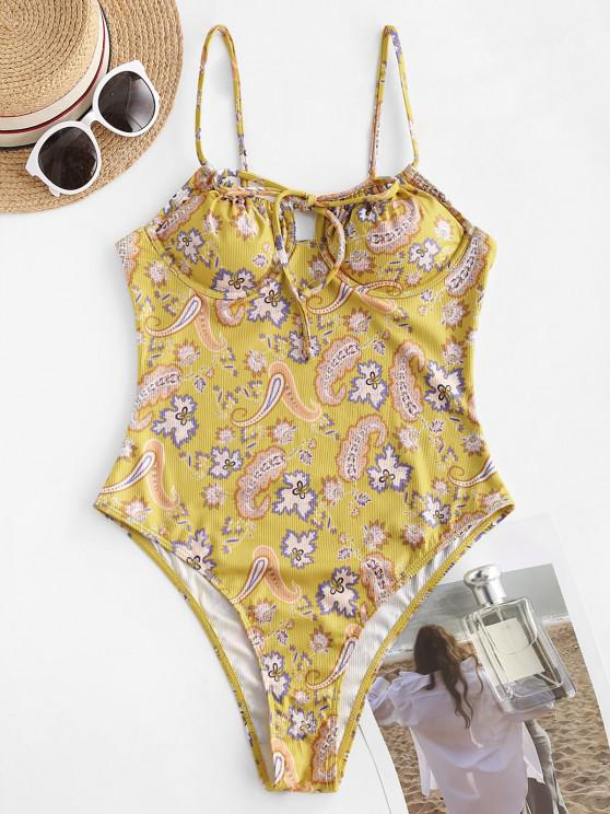 affordable ZAFUL Paisley High Cut Tie Ribbed One-piece Swimsuit - DEEP YELLOW L