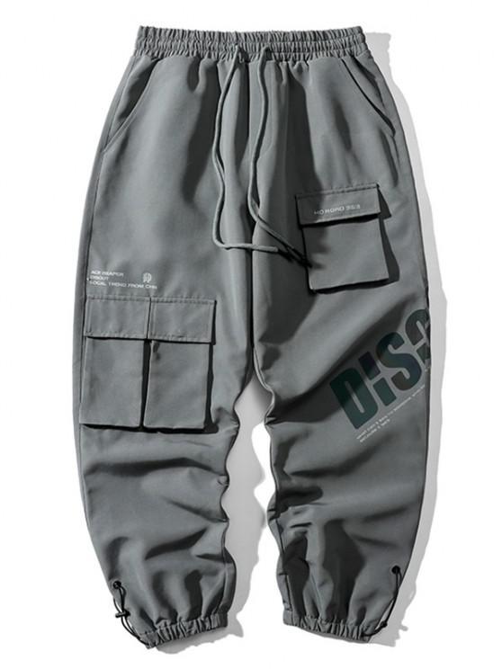 Reflective Letter Print Drawstring Cargo Pants - سفينة حربية رمادية 2XL