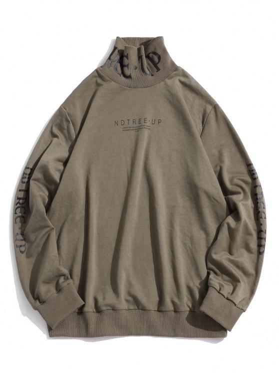 Letter Print High Collar Sweatshirt - القهوة الخفيفة XL
