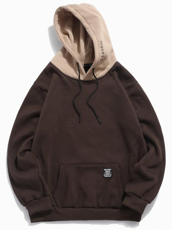 new Color-blocking Letter Patch Detail Pouch Pocket Fleece Hoodie - COFFEE M