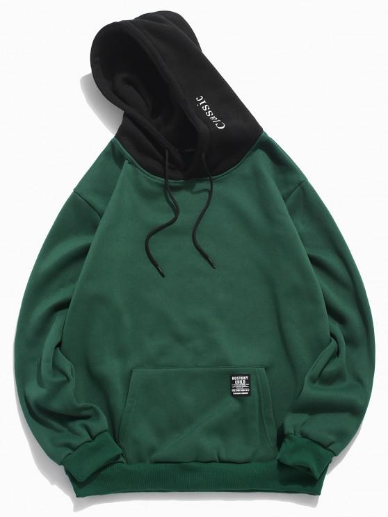 women Color-blocking Letter Patch Detail Pouch Pocket Fleece Hoodie - MEDIUM SEA GREEN XS