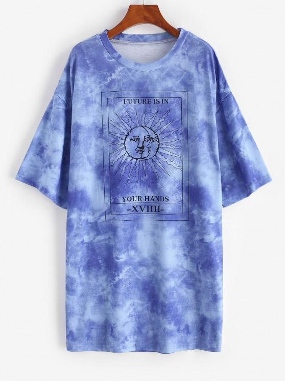 fashion Tie Dye Sun Pattern Drop Shoulder Tee Dress - BLUE S