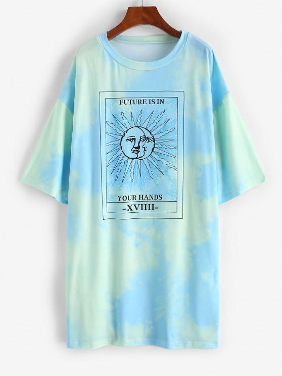 womens Tie Dye Sun Pattern Drop Shoulder Tee Dress - GREEN S