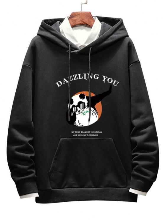 Dazzling Sie Panda Grafik Hängender Schulter Hoodie - Schwarz XL