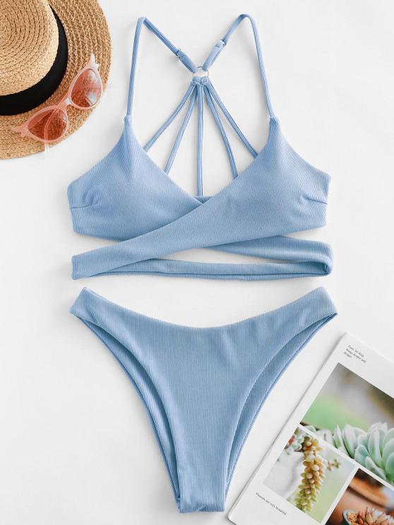fashion ZAFUL Ribbed Strappy Wrap Bikini Swimsuit - LIGHT BLUE S