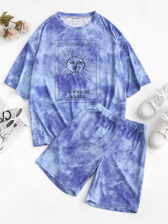 Krawattenfärbende Sonnendruck Fallschulter T-Shirt und Shorts Set - Blau S