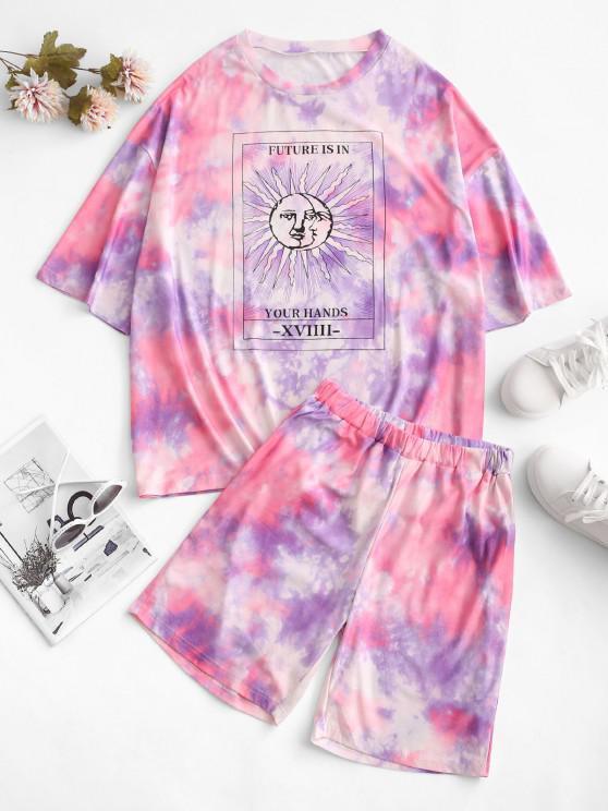 Dos Piezas de Shortsde Camiseta de HombroCaídocon Estampado de Sol - Púrpura S