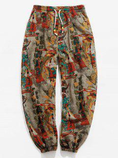 ZAFUL Vintage Printed Drawstring Casual Pants - Multi L